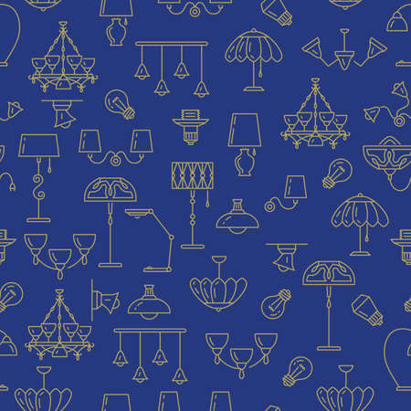 lampshade: Lamp seamless pattern, lighting icon. Brand identity graphics, Interior background