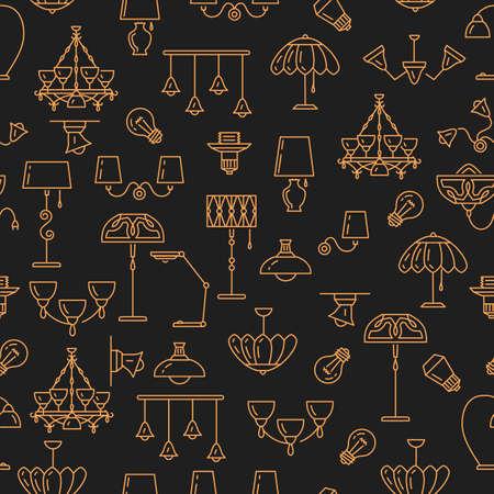 Lighting seamless pattern, Lamp icon. Brand identity graphics, Interior background