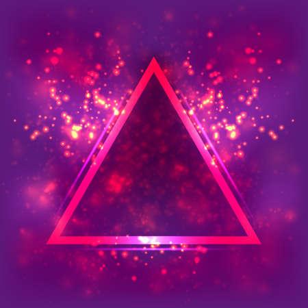 Abstract light background, luminous triangular frame. Blurred bright magenta space Ilustração