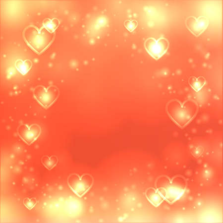 love gold: Valentines day heart background, love gold backdrop, space for text Illustration