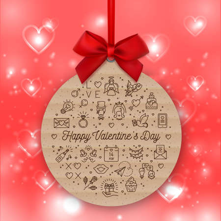 Valentines Day round card, valentine background, Gift tag kraft paper Illustration