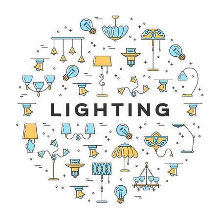 Icône de lampe circule infographiquement, magasin d'éclairage bannière de conception plate Vecteurs
