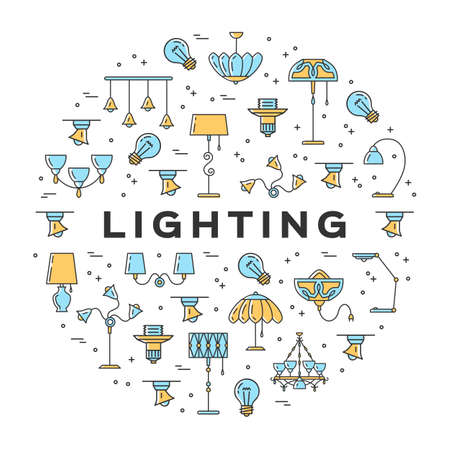 Lamp icon circle infographics, lighting store flat design banner