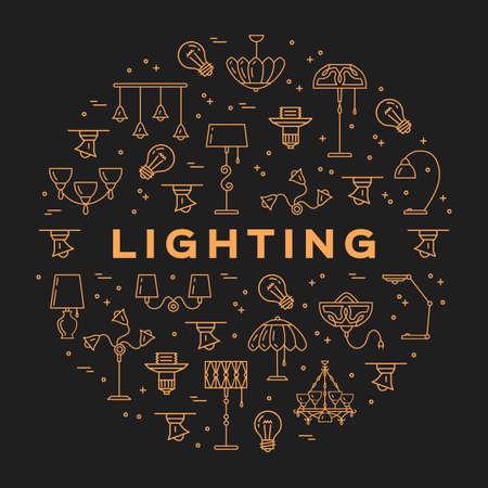 fixture: Lighting store circle infographics Lamp icon flat design card