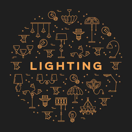 Lighting store circle infographics Lamp icon flat design card