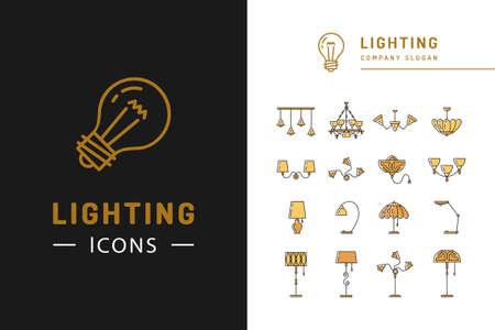 Lighting icon set, lampes symboles design plat. badges de ligne mince