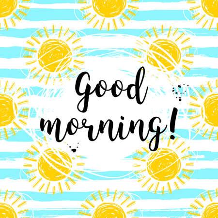 Goedemorgen kalligrafische inscriptie en handgetekende gele zonnen gestreept patroon. Stock Illustratie
