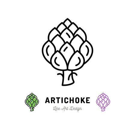 Vector artisjok pictogram groenten logo. Het dunne ontwerp van de lijnkunst, overzichtsillustratie Logo