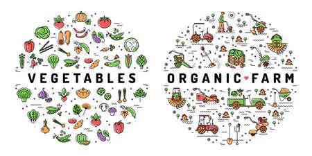 Rolnictwo, rolnictwo i warzywa płaskie infografiki. Symbole żywności ekologicznej Ilustracje wektorowe