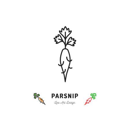 Parsnip icon  thin line art design.