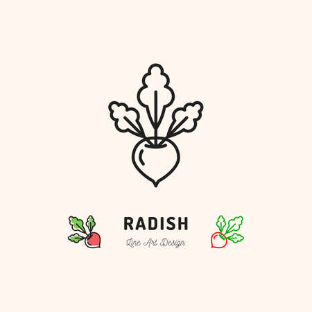 Radish icon  thin line art design.