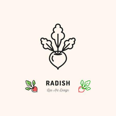 Radish icon  thin line art design.