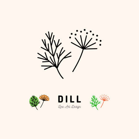 Dill icon thin line art design.