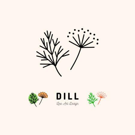Disegno di arte linea sottile icona di Dill.