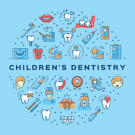 Сhildrens dentistry circle infographics Stomatology Dental care thin line art icons 矢量图像