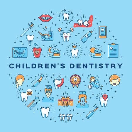 Ð¡hildrens dentistry circle infographics Stomatology Dental care thin line art icons Illustration