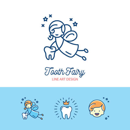 Tooth Fairy logo Сhildrens dentistry thin line art icons Stock Vector - 88538650