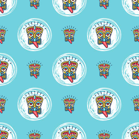 Tiki seamless pattern Polynesian masks tics on a blue background. Vector seamless pattern Ilustração
