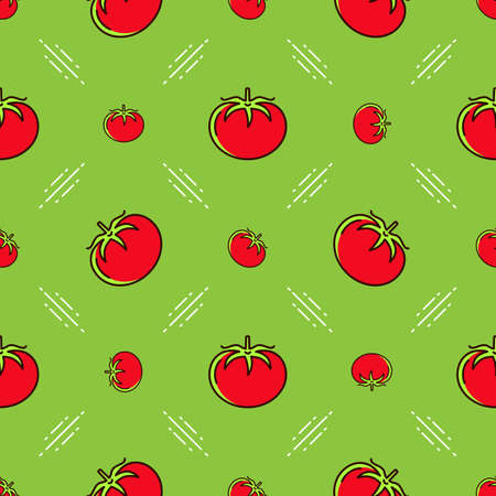 Tomato pattern seamless. Red tomatoes on a green background, Thin line art design