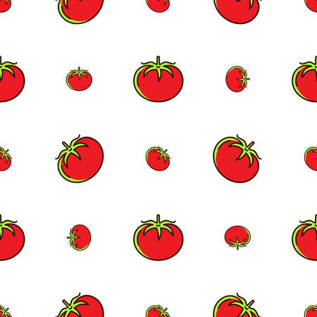 Tomato pattern seamless, Red tomatoes on a white background, Vector thin line art icons