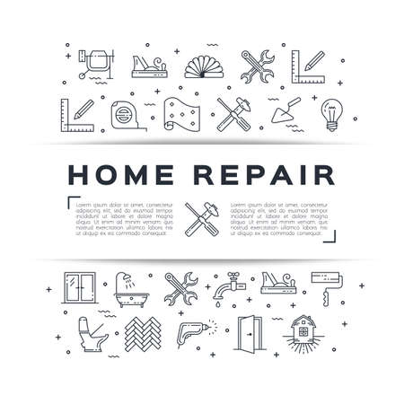 Home repair flyer onstruction poster. House remodel thin line art icons. Symbols hammer and screwdriver, plumbing, construction tools, hard hat, wallpaper and etc. in Vector flat illustration Stock Illustratie