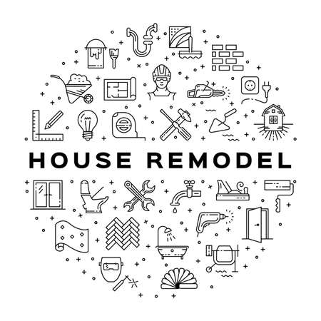Home Repair circle infographics construction icon. House remodel thin line art icons. Symbols hammer and screwdriver, plumbing, hard hat, construction tools, wallpaper. Vector illustration