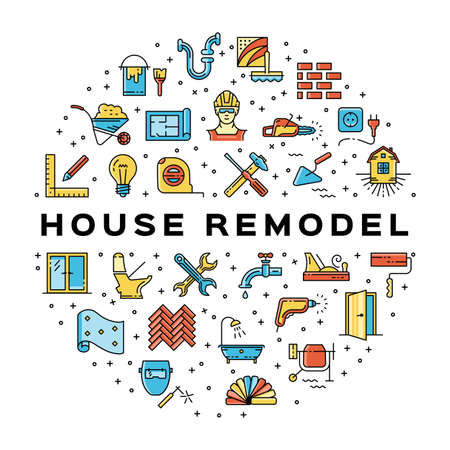 House remodel circle infographics Ð¡onstruction icon. Home repair thin line art icons. Symbols hammer and screwdriver, plumbing, construction tools, wallpaper and etc. Vector flat illustration