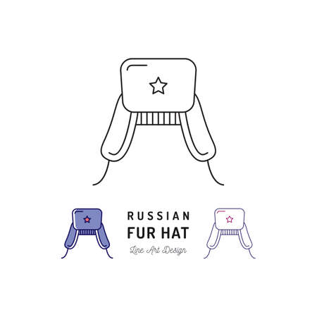 Russian fur hat icon Ushanka. Russian treval thin line art icons, Vector outline illustration