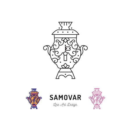 ukrainian traditional: Samovar tea, Russian food and drink. Traveling in Russia ultra-trendy symbol, thin line art icons. Vector flat illustration