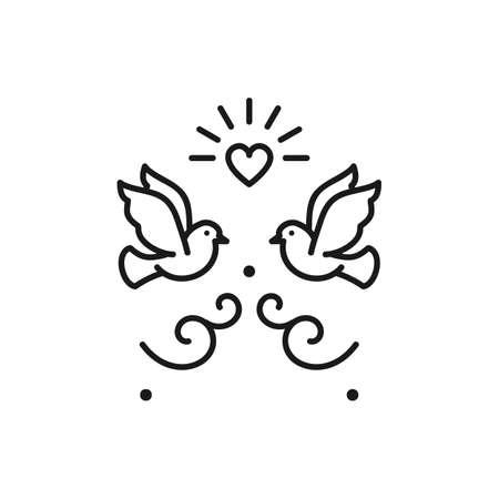 Wedding doves Birds icons. Valentines day love sign, Vector flat illustration  イラスト・ベクター素材