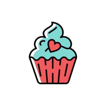 Icono de Cupcake. Símbolo de vacaciones y amor, día de San Valentín. Línea delgada cumpleaños colorido icono, Vector ilustración plana