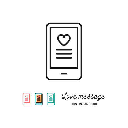 Love sms or romantic message icons, Mobile chat. Vector flat illustration