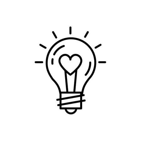 Idea bombilla Love Icon Feelings vector. Delgada línea de diseño de arte, Vector ilustración plana Foto de archivo - 90847211