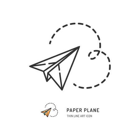 Paper plane thin line icon. Vector flat illustration