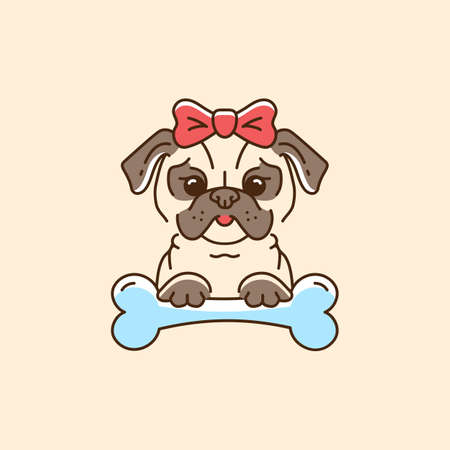Pug icon Cartoon face dog with a bow and bone. Colorful Dog line thin icon, Vector flat illustration