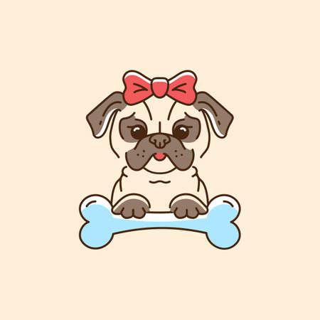 Pug icon Cartoon gezicht hond met een boog en bot. Kleurrijke hond lijn dun pictogram, platte vectorillustratie Stockfoto - 90847266