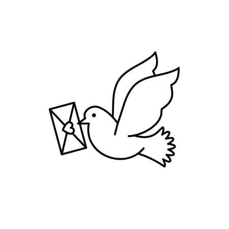 Post pigeon icon, Dove sign. Line art design, Vector flat illustration