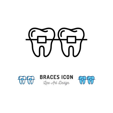 Braces icon, Stomatology Dental care. Teeth braces thin line art icons. Vector illustration