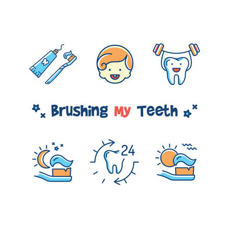 Brushing My Teeth card, Childrens dentistry icons set. Teaching kids to brush their teeth, tooth brushing for kids. Vector illustration Vetores