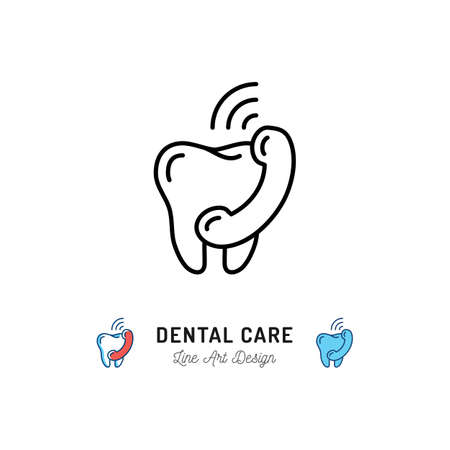 Dental Care Icon, Tooth and phone handset thin line icons. Vector illustration Vettoriali