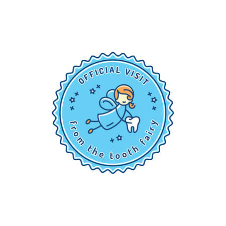 Official Visit Tooth Fairy, Childrens dentistry stamp icon. Dental care baby symbol, Vector illustration