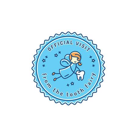 Visita oficial Hada de los dientes, icono de sello de odontología infantil. Símbolo de bebé de cuidado dental, ilustración vectorial