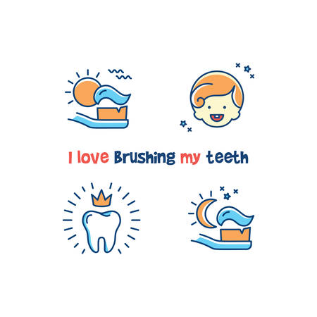 Childrens dental poster I love brushing my teeth. Teeth cleaning line icons, Healthy baby teeth card. Vector illustration 向量圖像