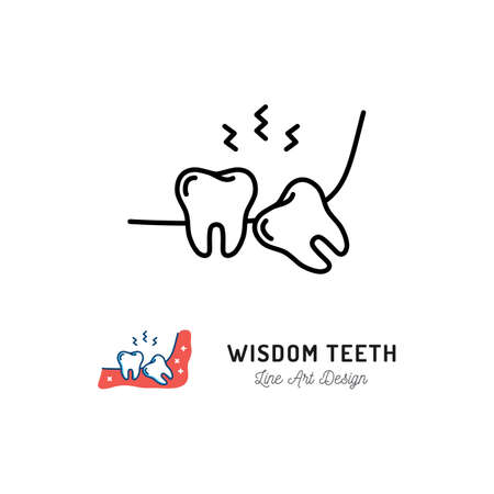 Wisdom Teeth icon. Wisdom tooth or third molar, toothache, jaw pain. Vector flat illustration