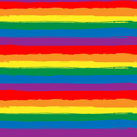 Rainbow striped seamless pattern, LGBT flag against homosexual discrimination. Grunge rainbow repeating background, Hand-drawn colorful stripes. Vector illustration