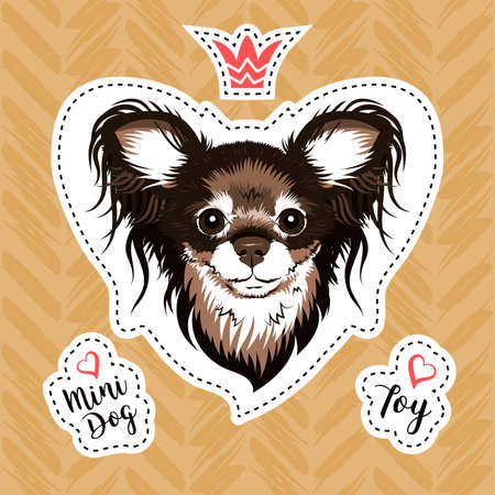 Sticker glamorous dog. Russian Toy Terrier small breed of dog. Modern illustration for stickers, embroidery, badges. Vector patch set, Sticker with dog head on golden background