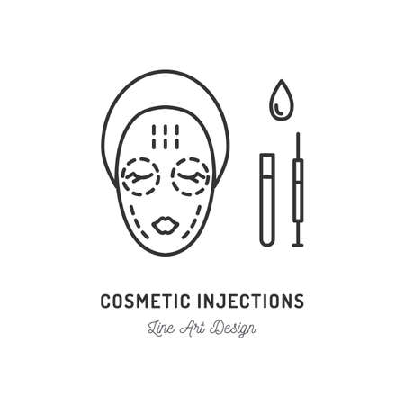 Cosmetic Injections, Beauty injections. Thin line art design, Vector flat illustration Illustration