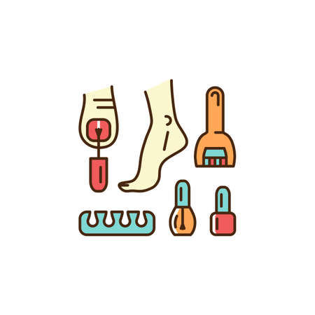 Pedicure icon. Well-groomed feet, Painted nails, Toe separator, Pedicure roll pumice stone for feet. Thin line art colorful design, Vector flat illustration