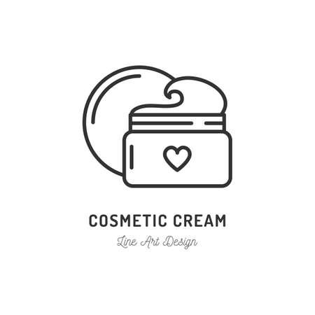 Cosmetic cream icon. Thin line art design, Vector flat illustration Ilustración de vector