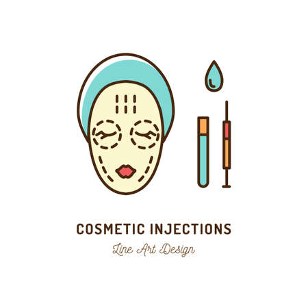 Cosmetic Injections, Beauty injections. Thin line art colorful design, Vector flat illustration Illustration